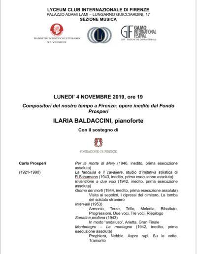 Programma di sala Opere inedite dal Fondo Prosperi 4 novembre 2019